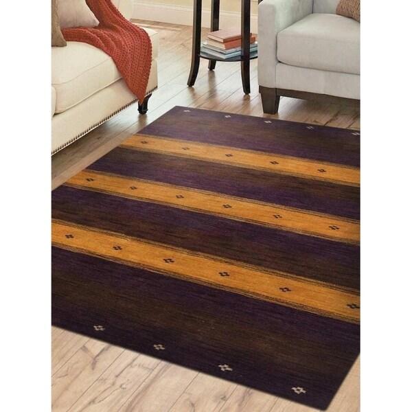 Shop Contemporary Purple Gold Handmade Loom Woolen Area Rug 5 X 8