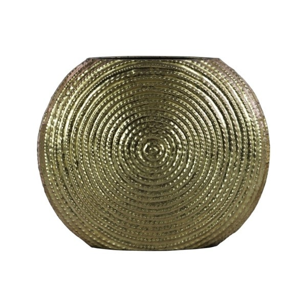 Metal Round Vase with Embedded Design on Body, Gold