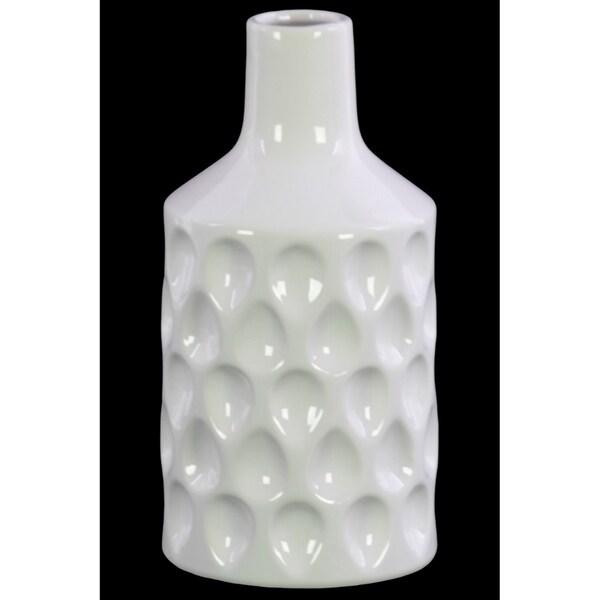 Ceramic Bottle Vase with Embossed Teardrop Pattern, Glossy White
