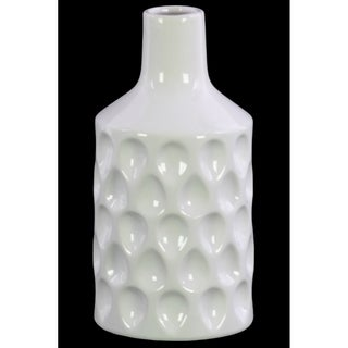 Ceramic Bottle Vase with  Embossed Teardrop Pattern, Glossy White