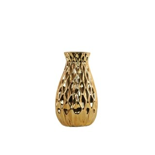 Ceramic Round Bellied Vase with Embossed Wave Design Body, Gold