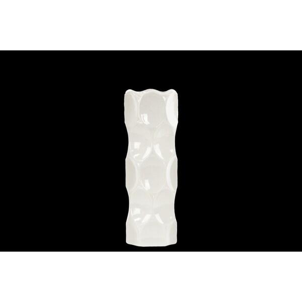 Cylindrical Shape Ceramic Vase With Dimpled Sides, Medium, White