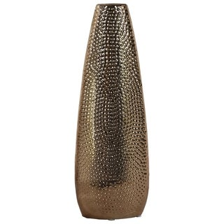 Oval Shape Ceramic Vase With Pimpled Pattern, Large, Copper