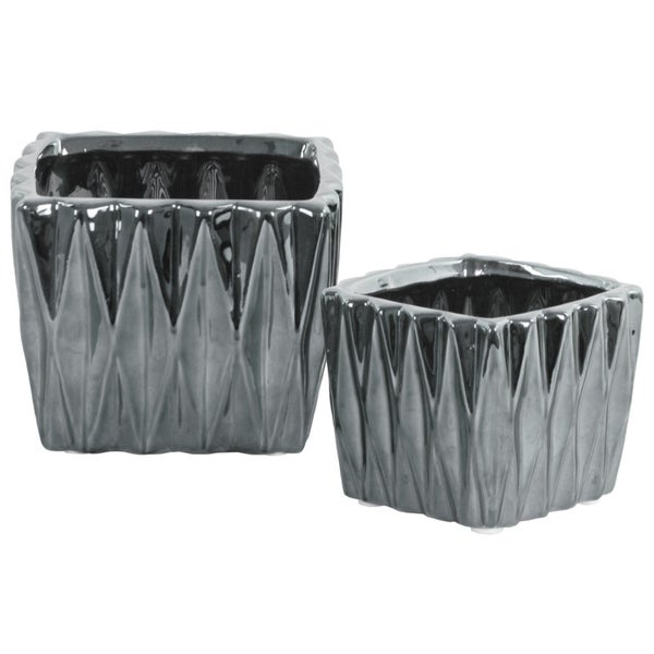 Square Ceramic Vase With 3D Triangle Pattern, Set Of 2, Silver