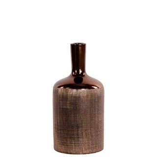 Ceramic Bottle Shaped Vase With Long Elongated Neck, Medium, Copper