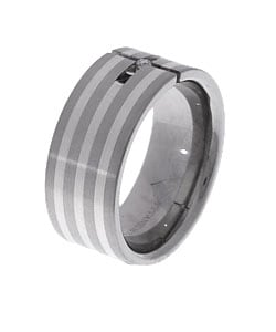 Men's Titanium and Silver Tension-set Diamond Ring - Thumbnail 1