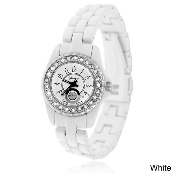 Geneva Women's Platinum Rhinestone Metal Link Watch