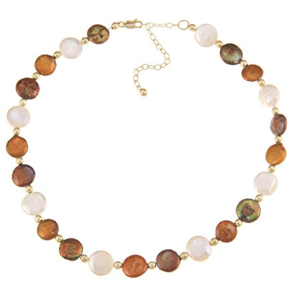 Glitzy Rocks 18k Goldplated Silver Freshwater Coin Pearl Necklace (10 mm)
