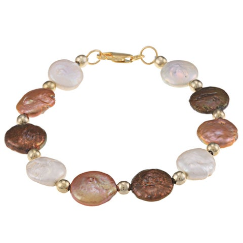 Glitzy Rocks Cultured Multicolor Freshwater Flat Pearl Bracelet