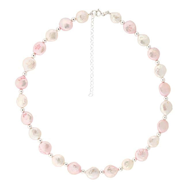 Glitzy Rocks Silver White and Pink Freshwater Coin Pearl Necklace (10 mm)