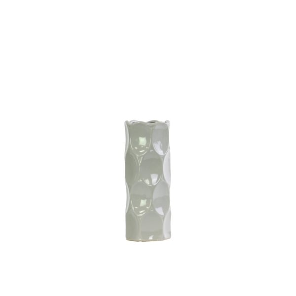Cylindrical Shape Ceramic Vase With Dimpled Sides, Small, Gray