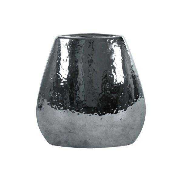 Elliptical Hammered Pattern Bellied Vase, Silver