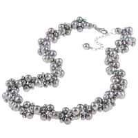 DaVonna Silver Grey Freshwater Pearl 18-inch Cluster Necklace (3-6 mm)