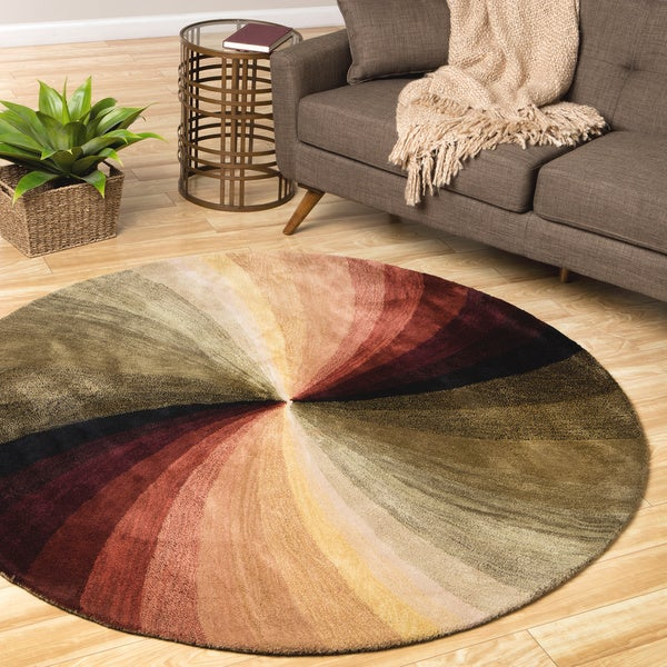 Hand-tufted Wool Contemporary Abstract Swirl Rug (6' Round)