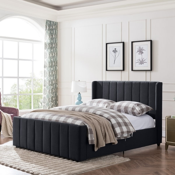 Antoinette Traditional Fully-Upholstered Queen-Size Bed Frame by Christopher Knight Home