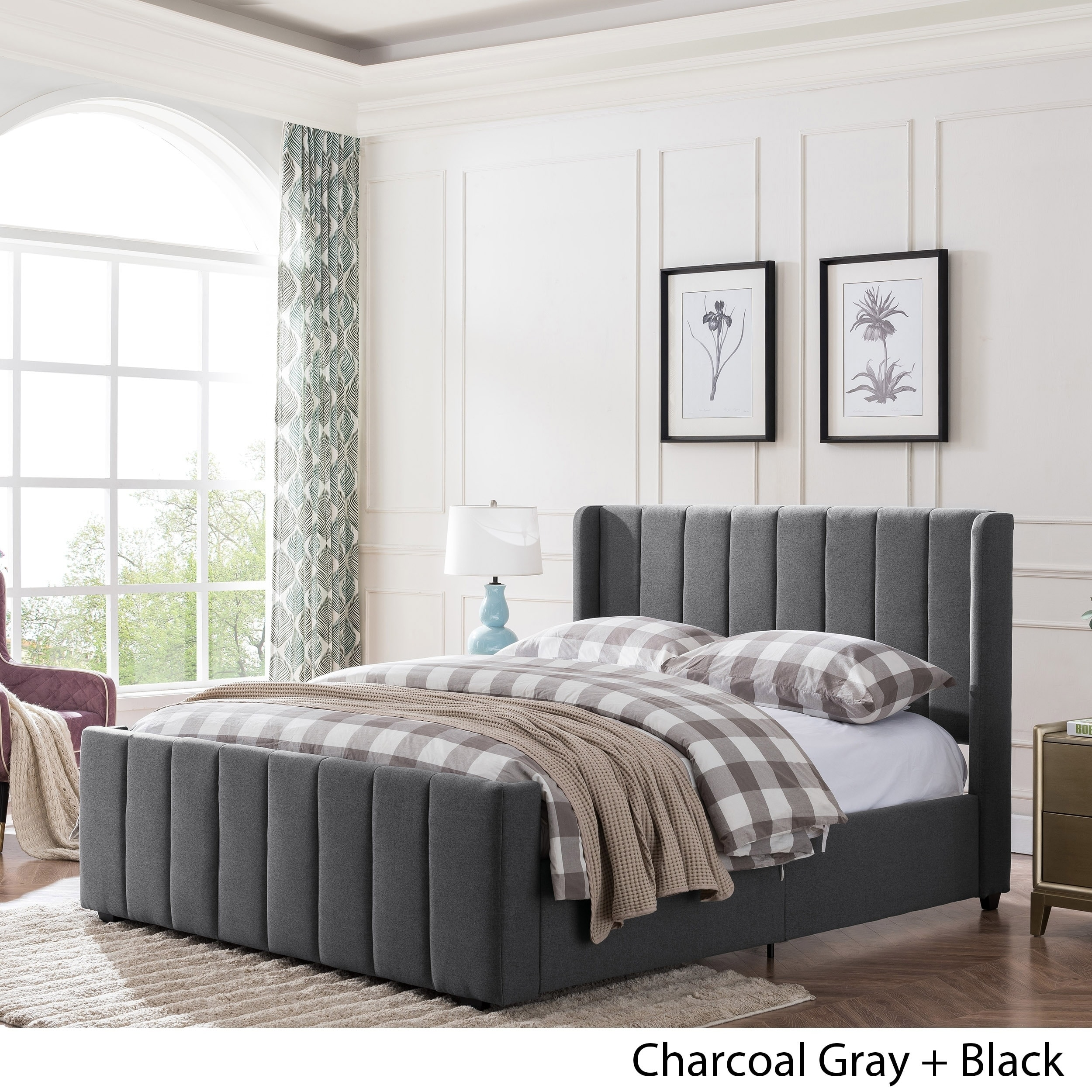 Picture of: Antoinette Traditional Fully Upholstered Queen Size Bed Frame By Christopher Knight Home Overstock 23284493 Charcoal Gray