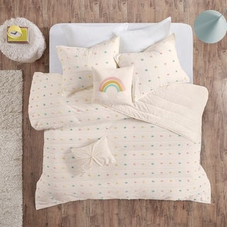 Urban Habitat Kids Ensley Multi Cotton Jacquard Pom Pom Coverlet Set
