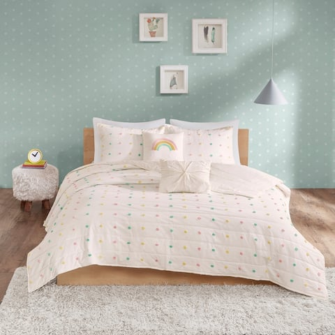 Urban Habitat Kids Ensley Cotton Jacquard Pom Pom Coverlet Set