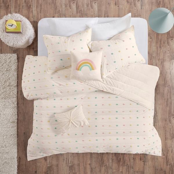 Urban Habitat Kids Ensley Multi Cotton Jacquard Pom Pom Coverlet Set