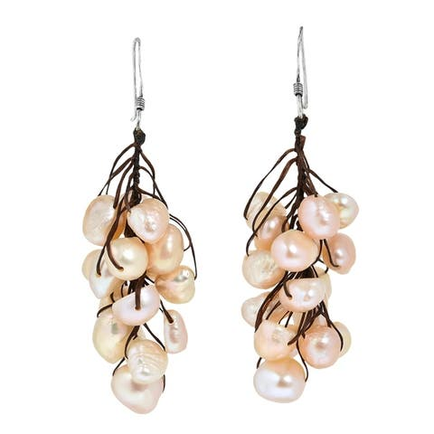 Handmade Hanging Cluster Freshwater Pearls Dangle Earrings (Thailand)