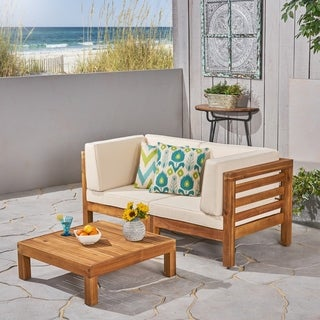 Oana Outdoor 2-Seater Acacia Wood Sectional Loveseat Set by Christopher Knight Home