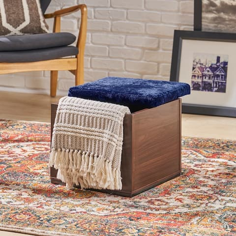 Bateau Modern Velvetby Storage Cube Faux Wood Frame OttomanVelvetby Christopher Knight Home