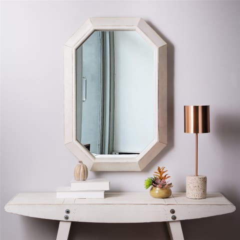 "Glitzhome Farmhouse Washed White Octagon Wood Mirror - 34.25""h"