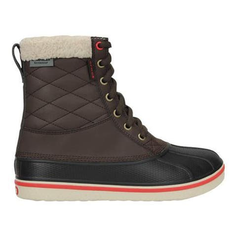 Crocs Womens AllCast Waterproof Duck Boot Shoes, Espresso/Red