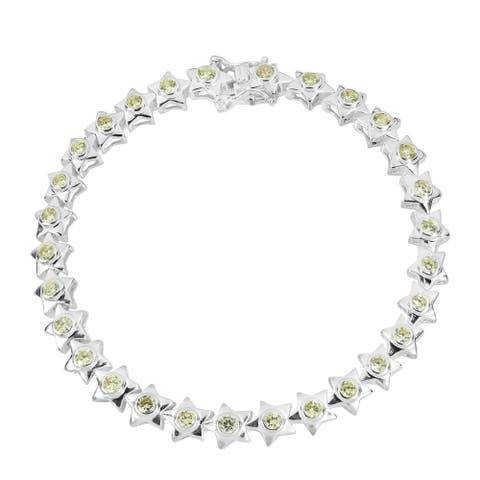 Handmade Cute Star Cubic Zirconia Sterling Silver Tennis Bracelet (Thailand)