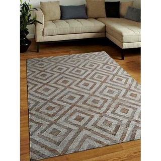 Hand Woven Kilim Jute Solid Eco-Friendly Natural Area Rug White Beige