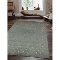 Contemporary Green Loom Wool Handmade Loom Area Rug - 8' x 10'