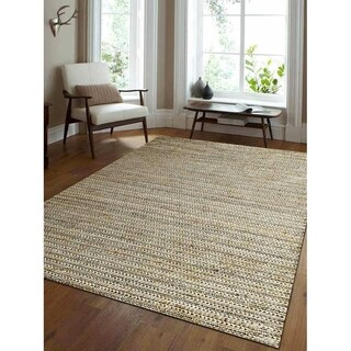 Hand Knotted Sumak Jute Solid Eco-Friendly Natural Area Rug Ivory