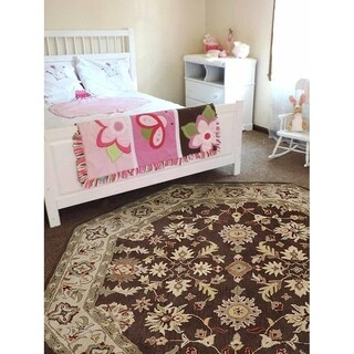 Oriental Brown/Beige Octagon Handmade Wool Area Rug - 8' x 8'