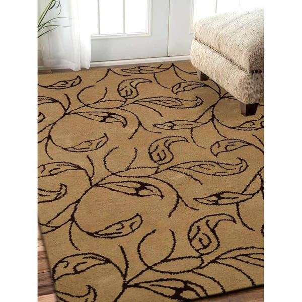 Hand Tufted Wool Area Rug Floral Beige Brown Overstock 23313374