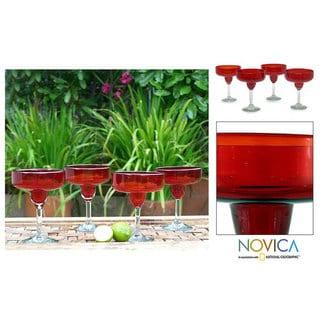 Handmade Set of 4 Scarlet Freeze Margarita Glasses (Mexico)