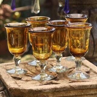 Handmade Set of 6 Blown Glass Golden Amber Goblets (Mexico)