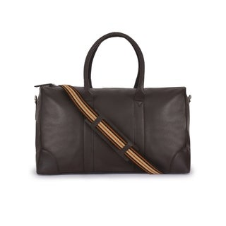 Handmade Phive Rivers Men's Leather Brown Duffle Bags (Italy) - 19x11x9