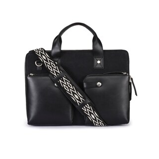 Handmade Phive Rivers Men's Leather and Canvas Black Laptop Bag (Italy) - One size