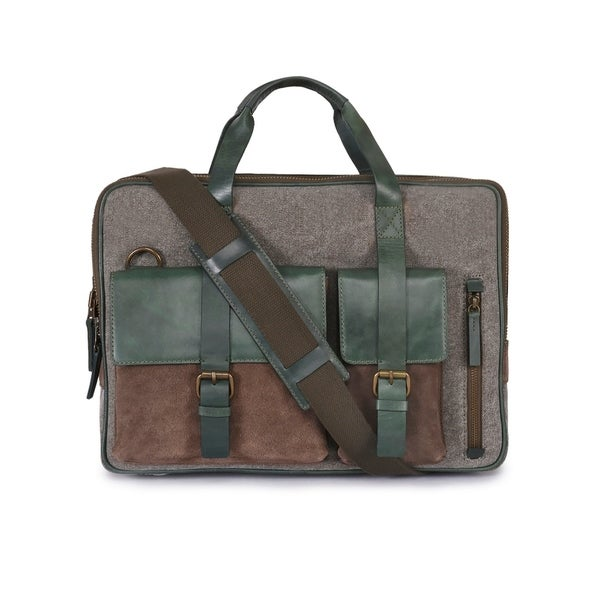 cead1c1f35a Handmade Phive Rivers Men  x27 s Leather and Canvas Green Laptop Bag (Italy