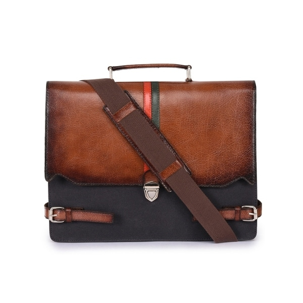 Handmade Phive Rivers Men  x27 s Leather and Canvas Charcoal and Tan Laptop  Bag b0860332f1dc4