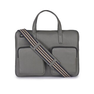 Handmade Phive Rivers Men's Leather Grey Laptop Bag (Italy) - One size