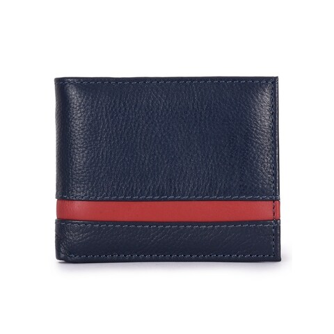 Handmade Phive Rivers Men's Leather Navy Wallet (Italy) - Small
