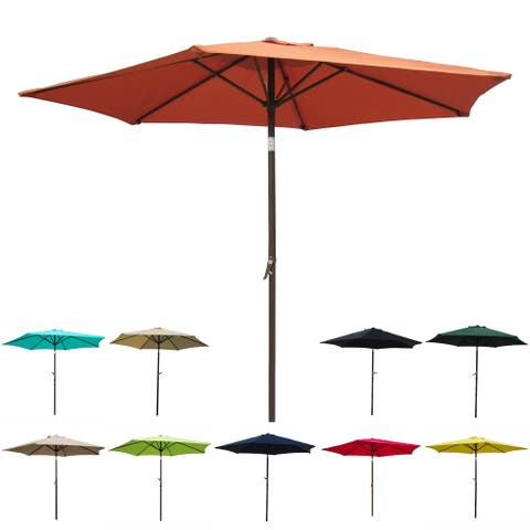 International Caravan St. Kitts 8-foot All-Weather Crank-and-Tilt Patio Umbrella