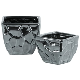 Ceramic Square Vase with Embossed Irregular Design, Set Of 2, Silver