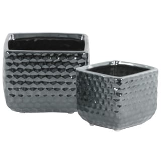 Ceramic Square Vase  With Engraved Diamond Pattern, Set Of 2, Silver