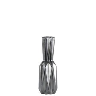 Ceramic Patterned Bottle Vase In Matte Finish, Small,  Silver