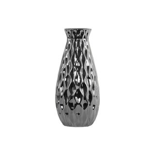 Ceramic Round Bellied Vase with Embossed Wave Design Body, Silver
