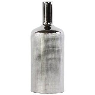 Patterned Bottle Shaped Ceramic Vase With Long Elongated Neck, Large, Silver