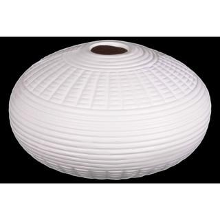 Patterned Ceramic Vase In Round Shape, White