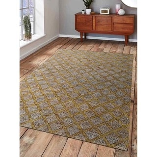 Hand Woven Kilim Jute Solid Eco-Friendly Natural Area Rug Beige Gold